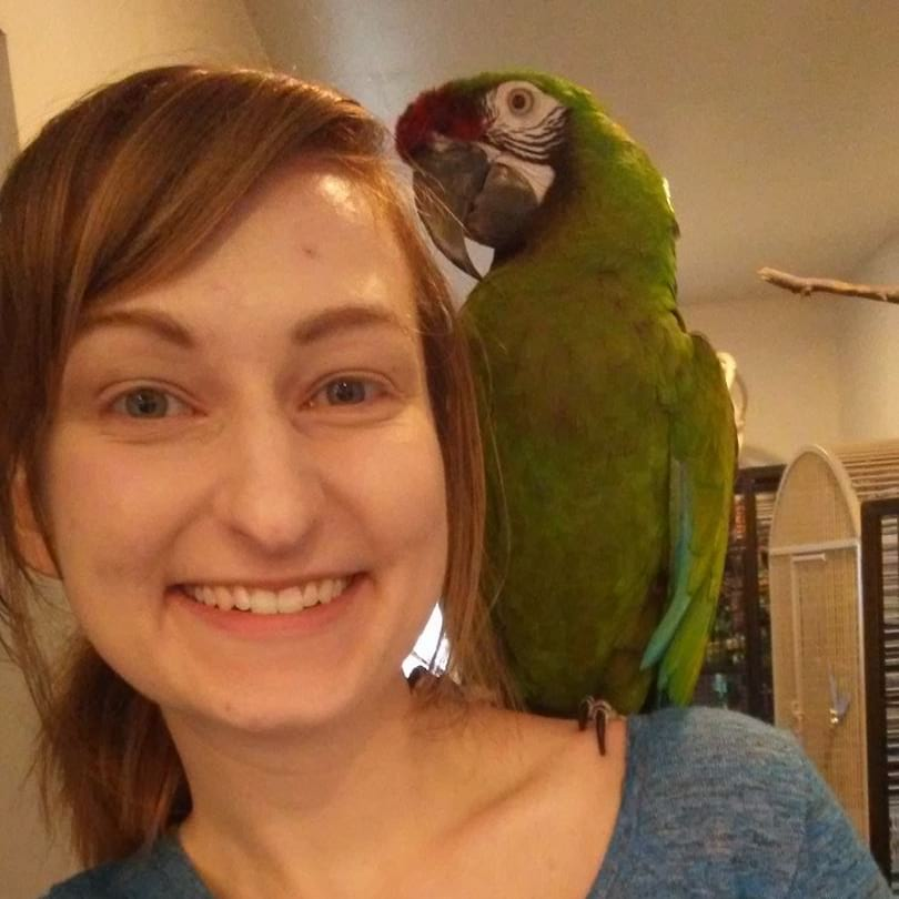 smiling woman with a large green parrot on her shoulder